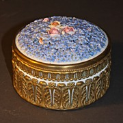 Early 20th Century Porcelain Powder Box with Gilded Bronze Mounts