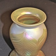John Barber Hand Blown Iridescent Art Glass Vase C. 1981