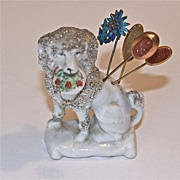 German Fairing Poodle Stick Pin Holder in the Staffordshire Style