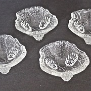 Set of 4 L.E. Smith glass co. Grape Leaf Salt Cellars