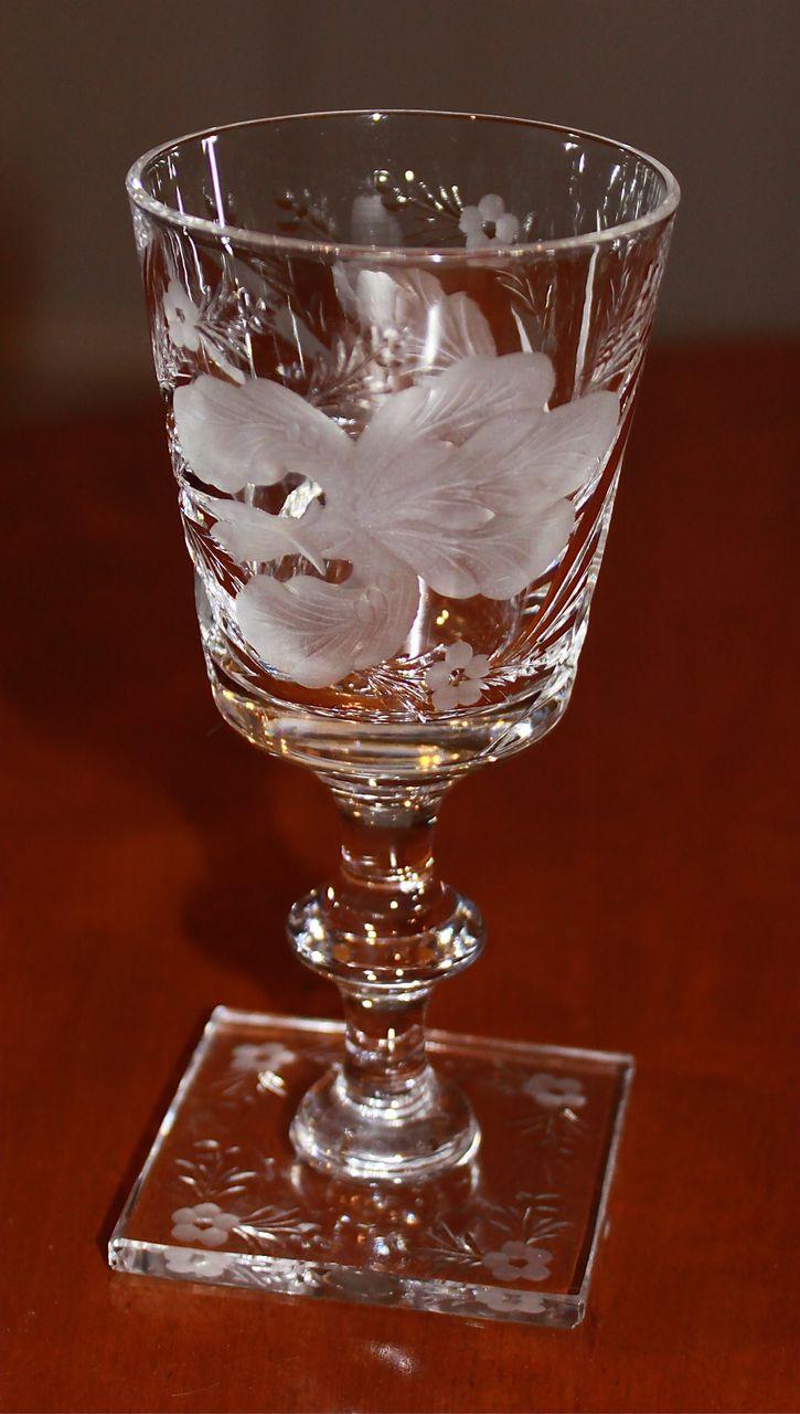 "Hawkes Fine Crystal ""Satin Iris"" Pattern 6-Cordials"