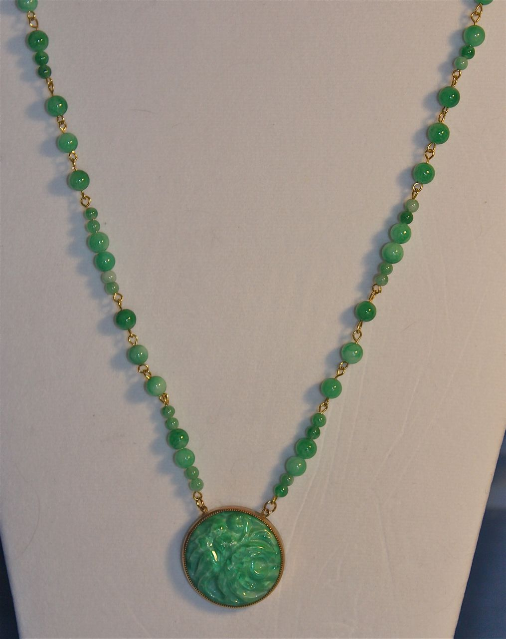 Jade and czech art deco glass matinee length necklace from for Pictures of jade jewelry