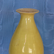 Chinese Late Qing Dynasty Imperial Yellow Vase Guangxu Marks