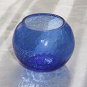 """Walter Von Nessen Art Deco Cobalt Blue 4"""" Ball Vase for Heisey Glass"""