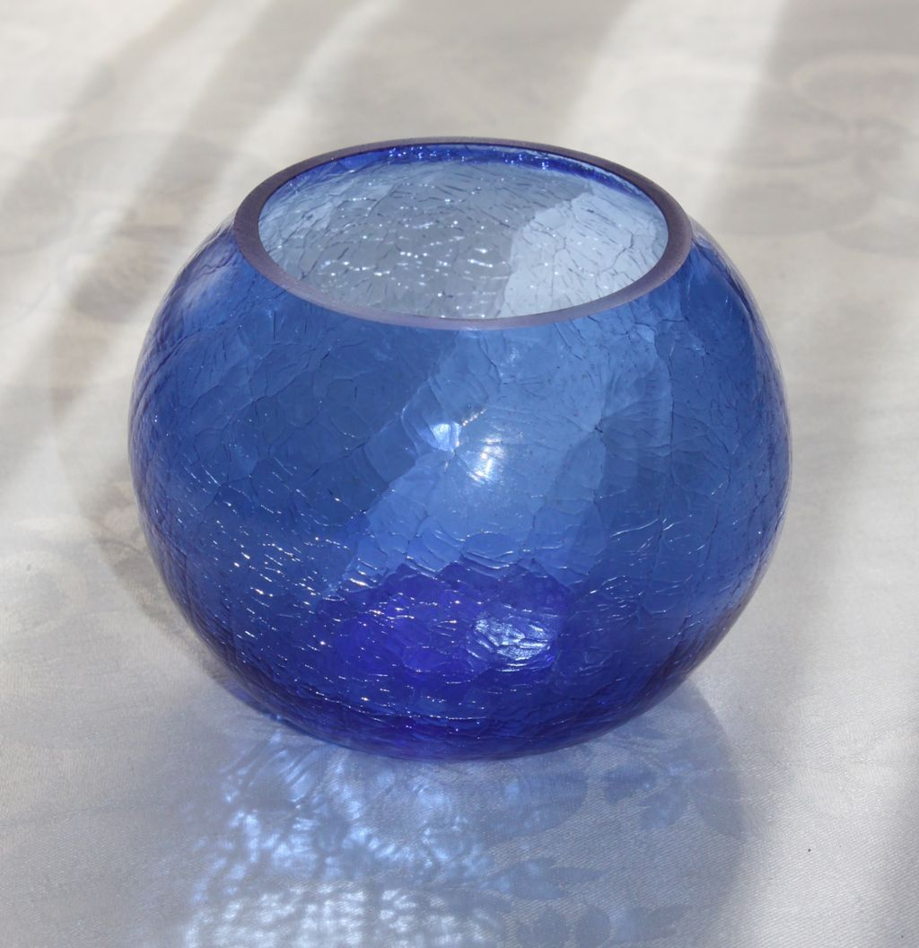 "Walter Von Nessen Art Deco Cobalt Blue 4"" Ball Vase for Heisey Glass"