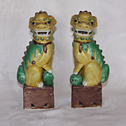 A pair of Sancai Chinese export Foo Dogs c. 1910-30