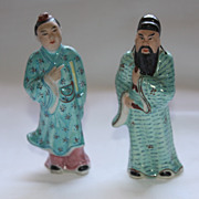 19th Century Chinese Export Famille Rose Pair of Immortals Figurines