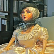"Marlene, an early 1930's 27"" tall composition and cloth Boudoir Doll"