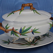 "Royal Worcester ""Bamboo"" Sauce Tureen and Underplate"