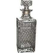 Square Lead Crystal Moulded and Faceted Whiskey Decanter