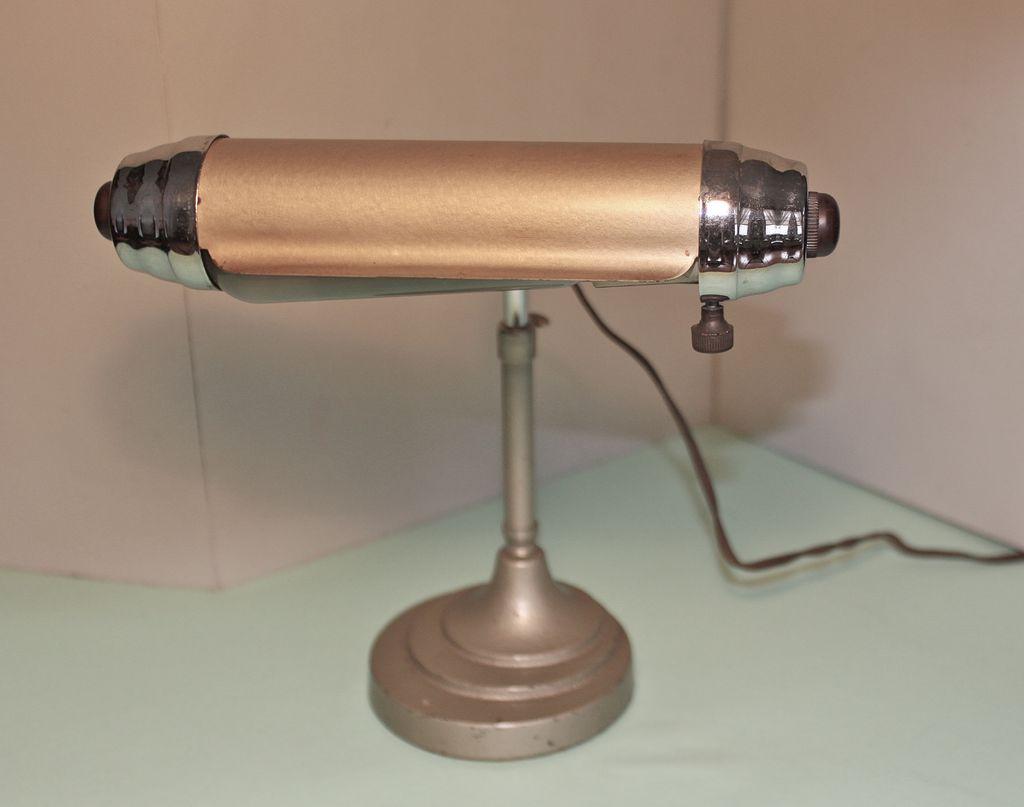 Art Deco Desk Lamp circa 1930's, Enamel and Chromium from ...