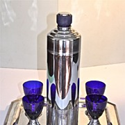 Chase Art Deco BLUE MOON/DORIC Cocktail Shaker & 4 Cocktail Cups