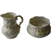 Irish Belleek Swirled Yellow Ribbon Sugar and Creamer