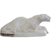 Art Deco Crackle Glaze Crouching Lioness