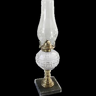 1860's Boston EAPG Flint Glass Font Whale Oil Lamp