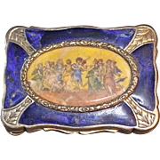 Florentine Silversmiths 800 Silver, Enamel Snuff Box