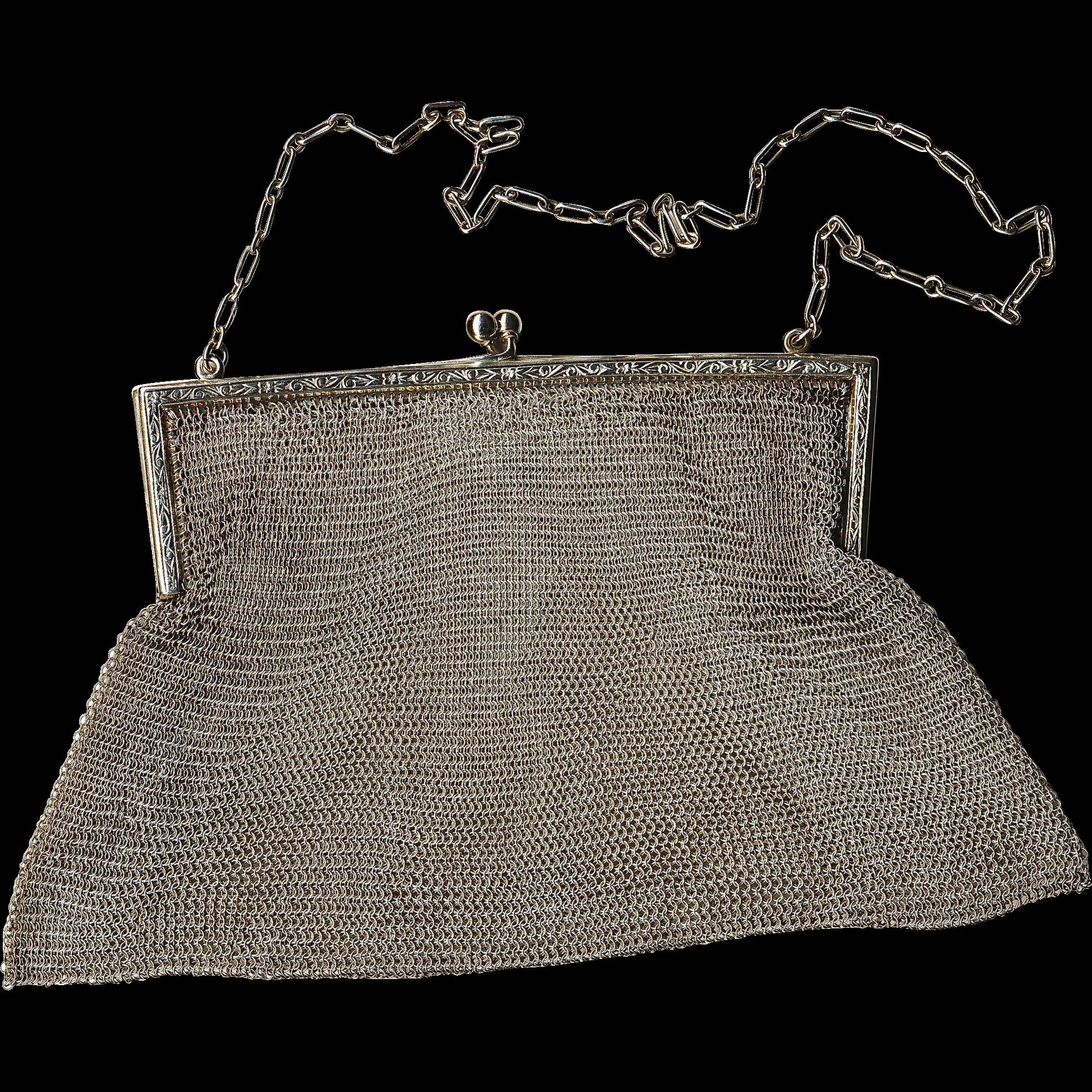 Sterling Silver Mesh Evening Bag Circa 1930's