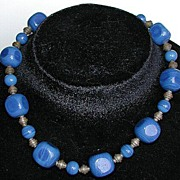 High art deco cobalt blue glass and brass choker