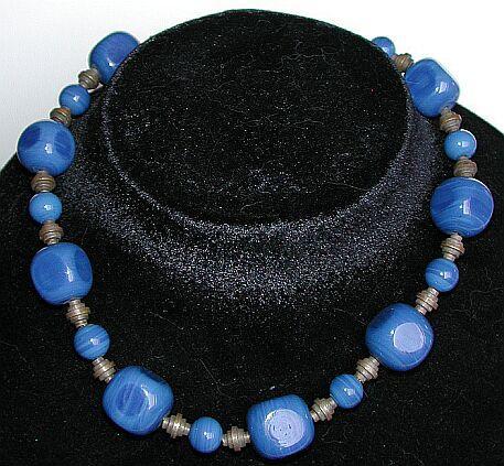High art deco cobalt blue glass and brass choker