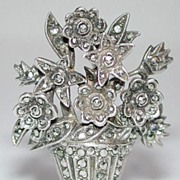 Wonderful 20s silver and marcasite flower basket pin