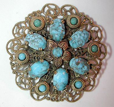 Large transitional / art deco filigree + faux turquoise pin