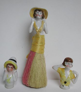 Nice trio of 20s half doll flappers in yellow + bonus
