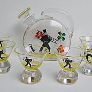 Amusing 50s sweep & black cat glass decanter set!