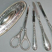 Nice antique art nouveau signed silver manicure set
