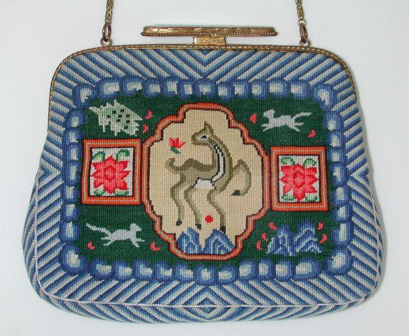Cutest 30s deco petit point bag with 'jade' clasp