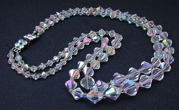 Magnificent vintage crystal 2 row beaded necklace