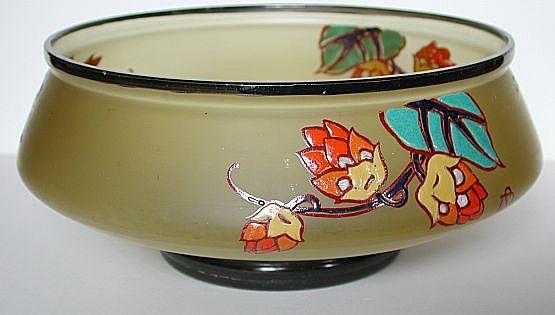 Rare French art nouveau Legras St-Denis enameled bowl