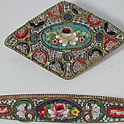 Two wonderful old micromosaic brooches / pins