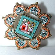 Very unusual early 1900 micromosaic brooch / pin