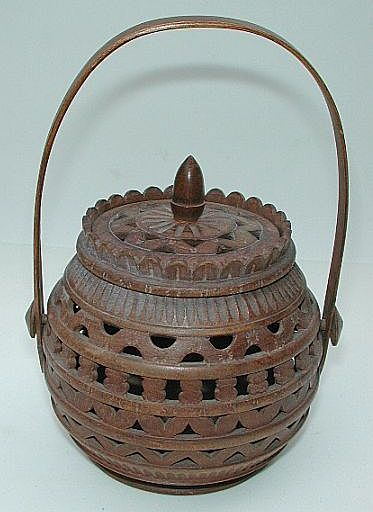 Very rare old Brienz or Black Forest carved wood basket