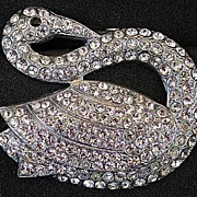 Unusual swan 30s Art Deco rhinestone dress clip