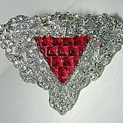 Stunning 30s art deco dress clip with rhinestones and red glass