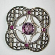 Art nouveau silver, marcasite and amethyst buckle