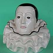Huge French signed Pierrot powder jar / half doll related
