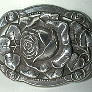 Wonderful old art nouveau silver brooch / pin with roses