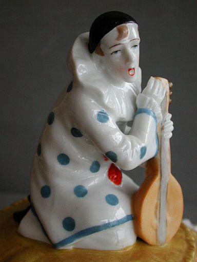 Scarce Sitzendorf Pierrot with mandolin powder jar / half doll related
