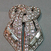 Gorgeous 30s Art Deco rhinestone dress or fur clip