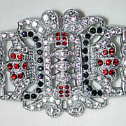 Czech 20/30s Art Deco large ornate rhinestone pin / brooch