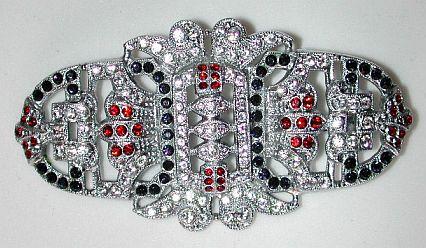 Czech 20/30s Art Deco large ornate rhinestone pin / brooch