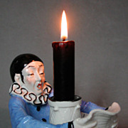 Scarce Sitzendorf 20s sad Pierrot candlestick / half-doll related