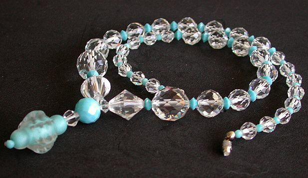 Magnificent crystal and turquoise glass art-deco Y necklace