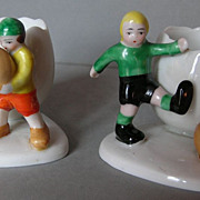 A pair of charming Goebel‭ ‬20s footballer egg cups‭!