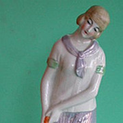 Incredible‭ ‬20s flapper girl golfer German figurine