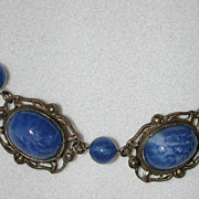 20s Czech Art Deco faux lapis lazuli necklace