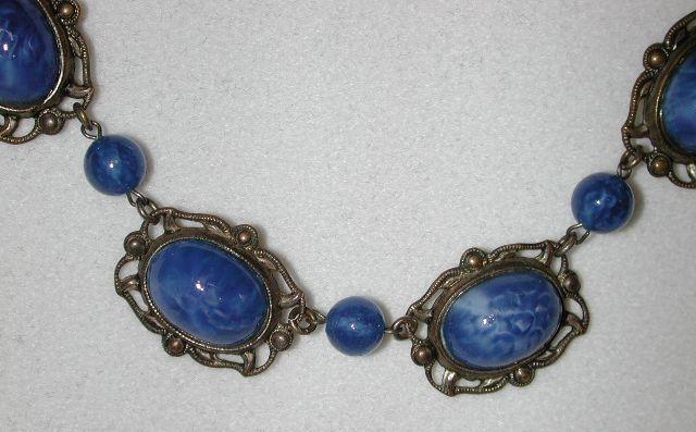 20s Czech Art Deco faux lapis lazuli necklace