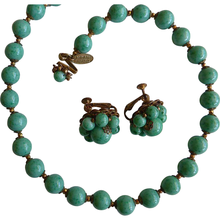 Wonderful Peking glass choker + earring set signed Miriam Haskell